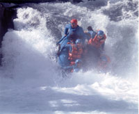 Plowing into the river at Husum Falls
