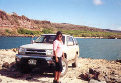 Sandra with the 4Runner on Molokai's NW End
