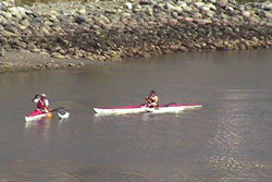 Kayakers play off the coast